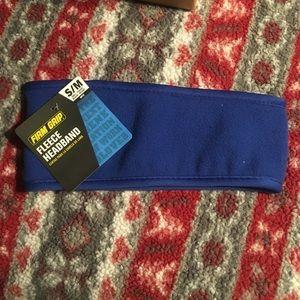 NWT firm grip fleece headband blue